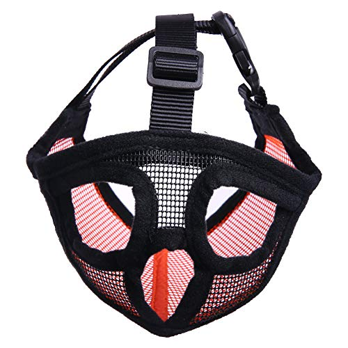 QBLEEV Pet Dog Breathable Mesh Nylon Muzzles for Short Snout Bulldog Short-snouted Breeds,Adjustable Buckle Loop,Anti-Biting,Anti-Barking and Licking Prevent from Chewing Eating Indiscriminately ()