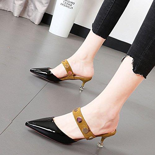 Xue Qiqi butt-Farbe semi-Hausschuhe Frauen Mode Tipps ist leer Metall Niet Frauen Schuhe tide Verschleiß