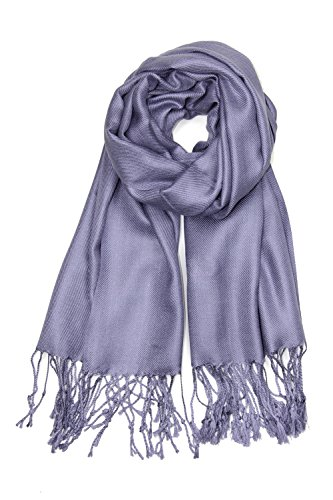 Achillea Large Soft Silky Pashmina Shawl Wrap Scarf in Solid Colors (Bluish Purple)