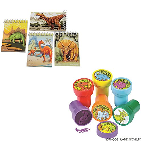 TwiceBooked Dinosaur Writing & Stamping Stationary Bundle - Twelve Dinosaur Mini Spiral Notepads & Twenty Four Dino Self-Inking Stampers