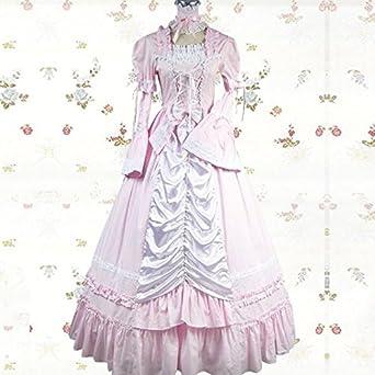 ec4bff96d Lolita 服 洋服 ピンク 長袖 ロリータ ワンピース コスプレ 衣装 コスチューム スカート ロング ドレス 袖なし パーティー