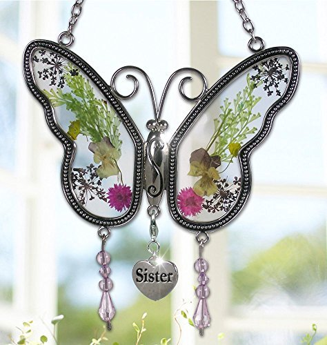 Circle Circle Sister Butterfly Suncatcher with Real Pressed Flower in Glass and Silver Metal Wings - Sister Butterfly Gifts