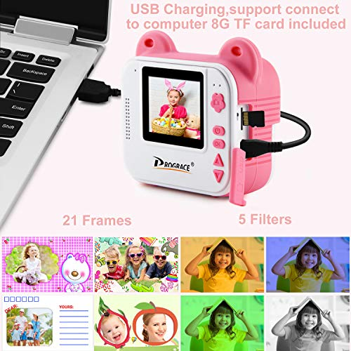 PROGRACE Instant Print Camera for Kids, Kids Instant Camera for Travel Learning Birthday Gift, Portable Digital Creative Print Camera for Girls Zero Ink Kids Camera Toy with Print Paper(Pink)