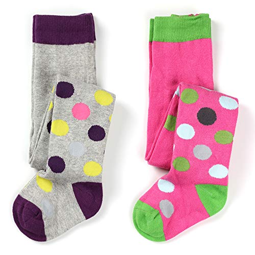 Little Baby Girls Fashion Cotton Knit Legging Tight 2 Pack (Colorful Spots Tights, 1-2 Years) -