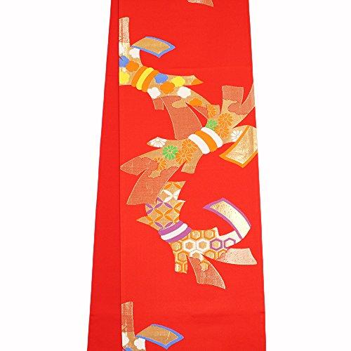 ご予約許される最大【正絹袋帯】【赤地系 / 束ね熨斗の柄】西陣織 お仕立てあがり 女の子 七五三 ジュニア 全通柄 7?14歳