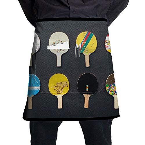 Kjiurhfyheuij Half Short Aprons Table Tennis Ping Pong Waist Apron with Pockets Kitchen Restaurant for Women Men - Server Pingpong