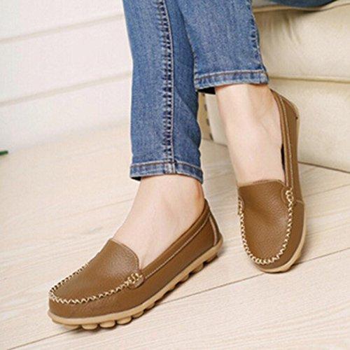 Calzado de mujer, Amlaiworld Slip On Comfort Zapatos planos Mocasines caqui