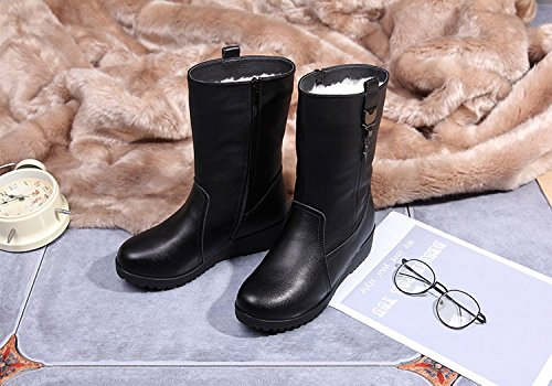 Duberess Lined Winter Anti Warm Leather Fur Slip Snow Half Boot Black Women's Boots rEaAqgr