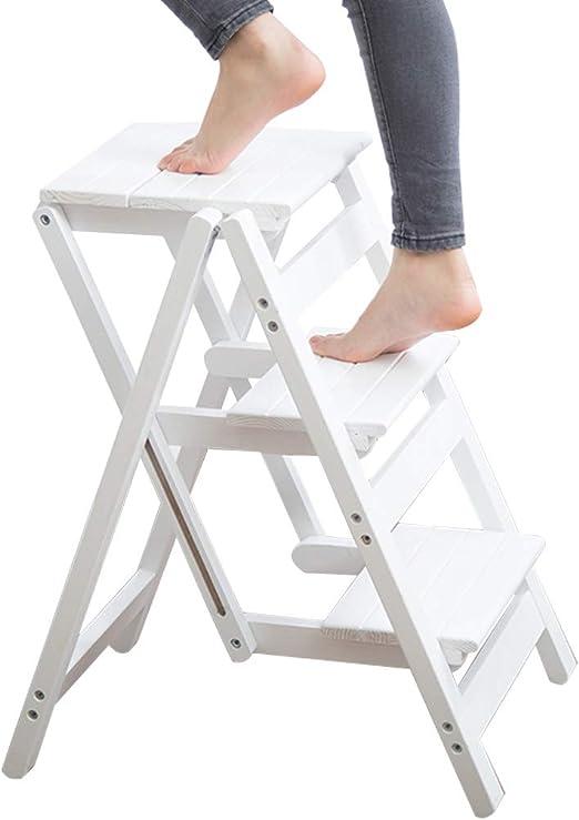 XWZJY Subir Escalera Taburete de 3 peldaños Plegable Silla de escaleras Cocina casera de Doble Uso Interior Escalera de Madera Pedal Ancho Grueso para Adultos (Color: Blanco): Amazon.es: Hogar