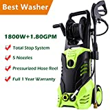 Meditool Pressure Washer, 3000PSI 1.80 GPM 14.5-Amp Power Washer, 1800W Rolling Wheels Electric Pressure Washer with Hose Reel, 5 Nozzles, 33 Foot Outdoor Extension Cord and One year Warranty For Sale