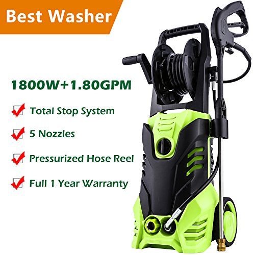 Meditool Pressure Washer, 3000PSI 1.80 GPM 14.5-Amp Power Washer, 1800W Rolling Wheels Electric Pressure Washer with Hose Reel, 5 Nozzles, 33 Foot Outdoor Extension Cord and One year Warranty ()
