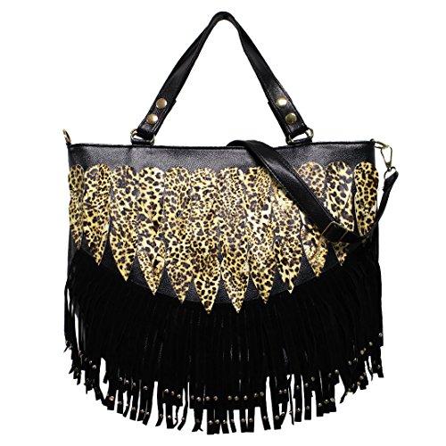 (Civetta Women Lady Punk Tassel Leopard Print Fringed Handbag Tote Bag Shoulder Bag Purse Black)