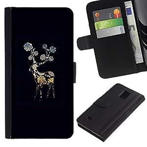 KingStore / Leather Etui en cuir / Samsung Galaxy Note 4 IV / Negro Noche Flor Gerbera