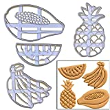 SET of 4 Fruits cookie cutters (Banana, Papaya, Pineapple and Watermelon), 4 pcs, Ideal for tropical themed fruit party