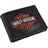 Harley-Davidson Men's Embroidered Bar & Shield Billfold Wallet, XML4336-ORGBLK
