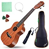 "Acoustic Concert Ukulele Mahogany Ukelele 23"" Beginners Starter Kit with Free Online Courses and Ukulele Accessories, Electric 23"
