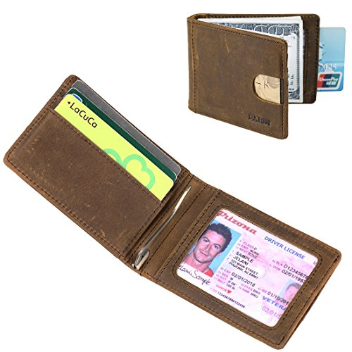 Front Pocket Wallets for Men Slim RFID Bifold Minimalist Money Clip Card Case -Made From Full Grain Leather Pabin (California Desert-horizontal slot) - Exclusive Horizontal Leather