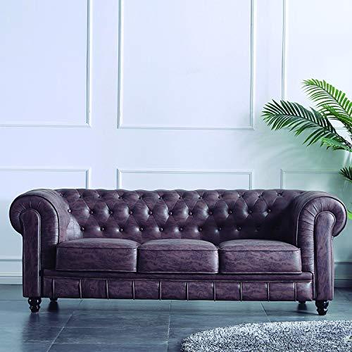 Adec - Chesterfield, Sofa de Tres plazas, Sillon Descanso 3 Personas Acabado en capitone Color Chocolate Vintage, Medidas: 211 cm (Ancho) x 84 cm ...