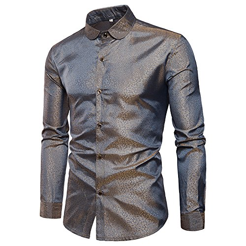 MAGE MALE Men's Luxury Dress Shirt Casual Long Sleeve Camouflage Fitted Wrinkle Free Shirt (53-Gold Grey, S)