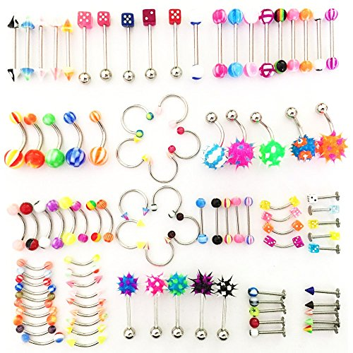 (SHINEstlye Lot 110 PCS Body Jewelry Piercing Eyebrow Navel Belly Tongue Lip Bar Ring 22 Styles)