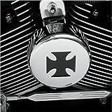 Drag Specialities 2107-0026 Chrome & Black Iron Cross Horn Cover