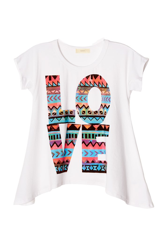 Poshsquare Big Girls Kids Cotton Graphic Prints Handkerchief Short Sleeve Tee T Shirt Top USA White S