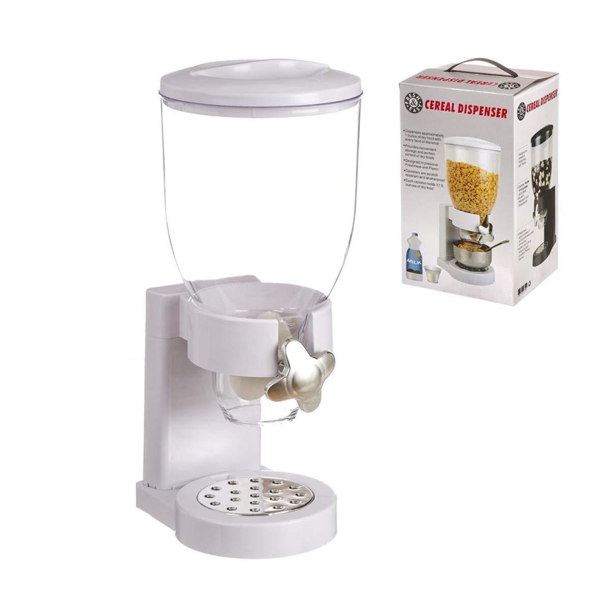 Corn Flakes Frutos Secos Home Gadgets Maquina Dispensador de Cereales Blanco con Dosificador Contenedor Caramelos