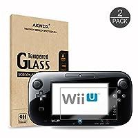 (Paquete de 2) Protector de pantalla de cristal templado para Nintendo Wii U, Akwox [0.3mm 2.5D High Definition 9H] Película protectora de pantalla nítida de calidad superior para Nintendo Wii U