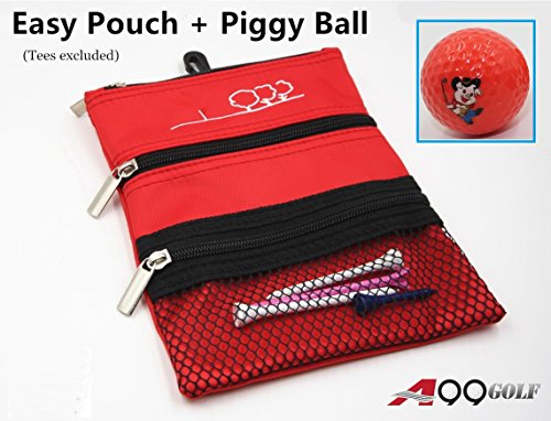 Bag Golf Utility (A99 Golf Eazy Pouch 3-pocket Golf Utility Pouch w/ Bag Hook + Piggy Balls Orange)