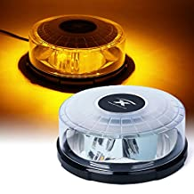 Xprite Moonbeam Series Amber 14 Modes 24W 24-LED High Intensity Emergency Vehicle Strobe and Rotating Light Beacon with Magnetic Mounts