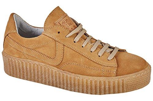 Post Xchange Ziggy 08 Damen Schnürr Schuhe Sneaker, Creeper Sohle, arena beige