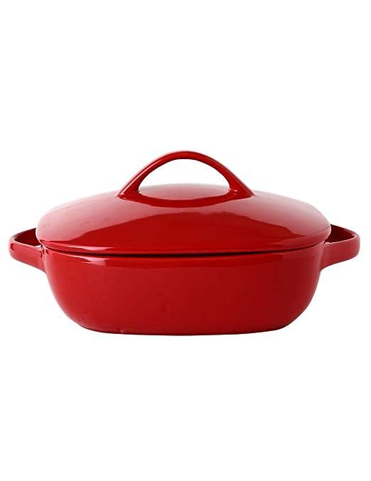 KCoob - Cuenco de cerámica para microondas, Color Rojo con ...