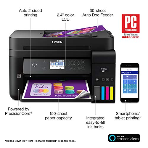 Epson Workforce ET-3750 EcoTank Wireless Color All-in-One Supertank Printer with Scanner, Copier and Ethernet (Renewed) by Epson (Image #4)