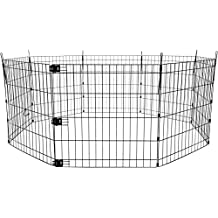 AmazonBasics Foldable Metal Pet Exercise and Playpen, 24""