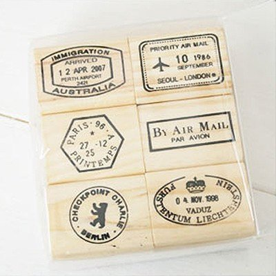 6 Pcs Travel Passport Stamp Wooden Rubber Stamps