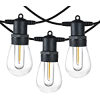 SUNTHIN 48FT LED Outdoor String Light with Shatterproof LED Filament Bulb for Patio Lights, Backyard Lights, Porch…