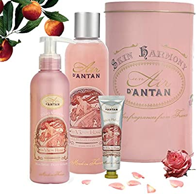Un Air dAntan® Caja Belleza Rose Mujer,1 Gel Ducha 250ml, 1 Crema Corporal Hidratante 200ml, 1 Crema de Manos 25ml Perfume Melocotón, Rosa Navidad ...