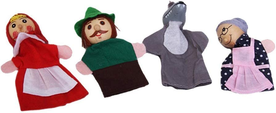 Soft dedo Caperucita marionetas lindo marioneta del dedo de los juguetes del bebé juguetes educativos para espectáculos, hora del recreo, Escuelas 4 piezas
