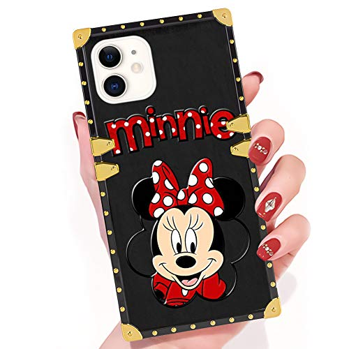DISNEY COLLECTION iPhone 11 Case Cartoon Character Cute Disney Minnie Mouse Square Phone Case Cover Soft TPU 360 Degree Luxury Shockproof Protective Case Compatible for iPhone 11 6.1 Inch (The Best Cartoon Characters)