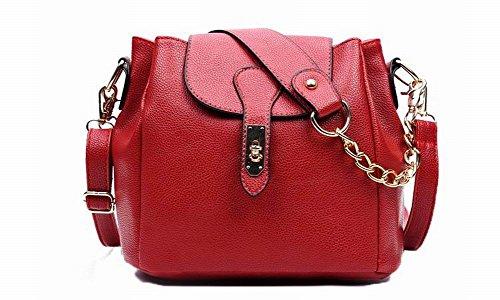 AgooLar Mujeres Satchel-Style Bolsas de hombro Moda Casual Pu Bolsos cruzados Rojo