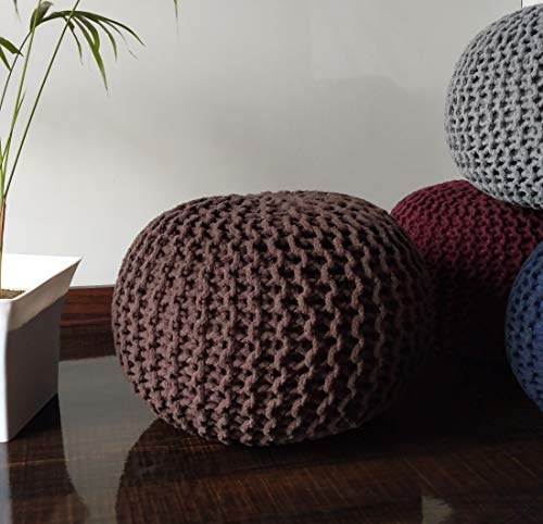 Loomsale Premium 100 Cotton Knitted Pouf Ottoman Foot Stool For Living Room Bedroom Hall Pouf Ball Chair Pouf Exterieur Ball Round Ball Coffee