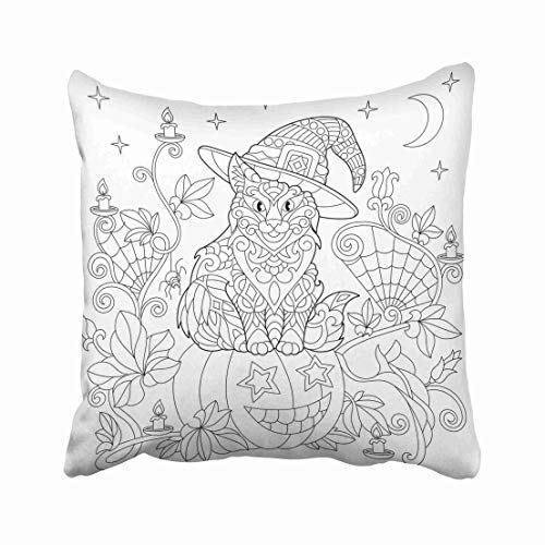 Emvency Halloween Coloring Page Cat in Hat Pumpkin Spider Lanterns with Candles Moon and Stars Freehand Sketch Throw Pillow Covers 20x20 Inch Decorative Cover Pillowcase Cases Case Two -