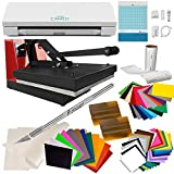 USCutter Silhouette Cameo 3, 15x15 Heat Press, Vinyl Sheets, Transfer Tape, EasyWeed HTV, Tools (Bundle)