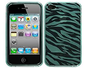 Zebra Green TPU Skin Case Cover for Apple iPhone 4