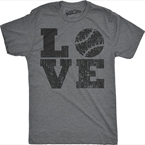 Mens LOVE Baseball Funny Sporting Lover Homerun Cute Relationship T shirt (Grey) -S
