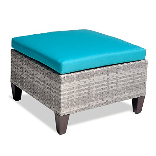 Outdoor Patio Wicker Ottoman Seat with Cushion, All Weather Resistant Foot Rest Stool Coffee Table, Easy to Assemble (Sea Blue) - Massager Ottoman