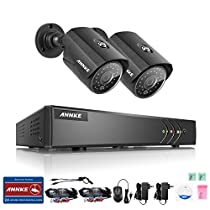 ANNKE 4CH 960P Home Video Security System with Powerful 5-in-1 1080N DVR Recorder and (2) 1.3MP Wired CCTV Bullet Cameras, IR Night Vision and IP66 Weatherproof Housing, NO HDD