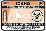 IDAHO Type II Zombie Hunting Permit Sticker Size: 4.95x2.95 Inch (12.5x7.5cm) Decal