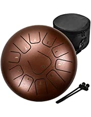 Amkoskr 12 Inches Staal Tong Drum C Sleutel 11 Notes, Percussie-Instrument, Stalen Tongtrommel Hand Pan Drum met Mallets/Trommel Draagtas, Bruin