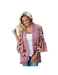 KOERIM Women's Boho Lace Floral Print Cardigan Casual Patchwork Kimono Coat Cover up